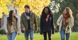 Students walk through the Pitt campus