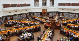Inside of a busy library