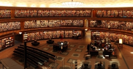 Inside of a large library